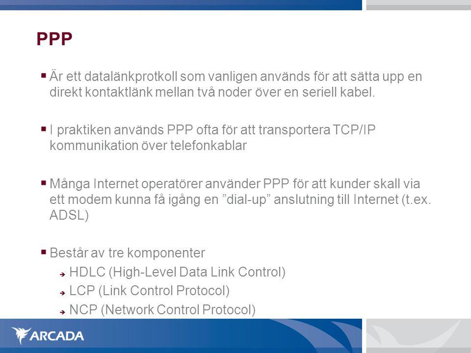 PPP  Är ett datalänkprotkoll som vanligen används för att sätta upp en direkt kontaktlänk mellan två noder över en seriell kabel.  I praktiken använ