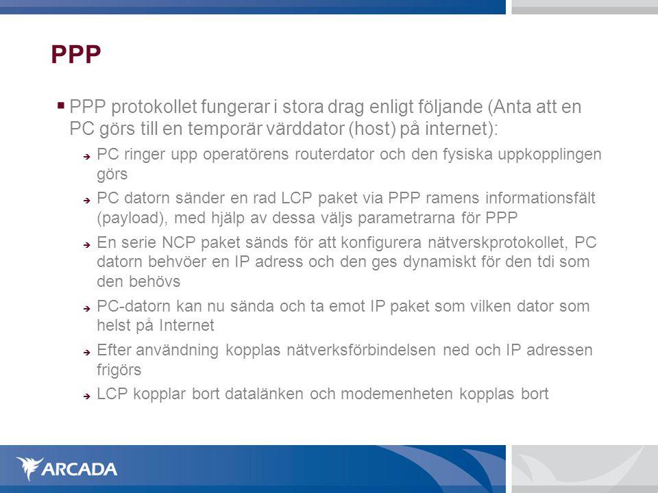 PPP  PPP protokollet fungerar i stora drag enligt följande (Anta att en PC görs till en temporär värddator (host) på internet):  PC ringer upp opera