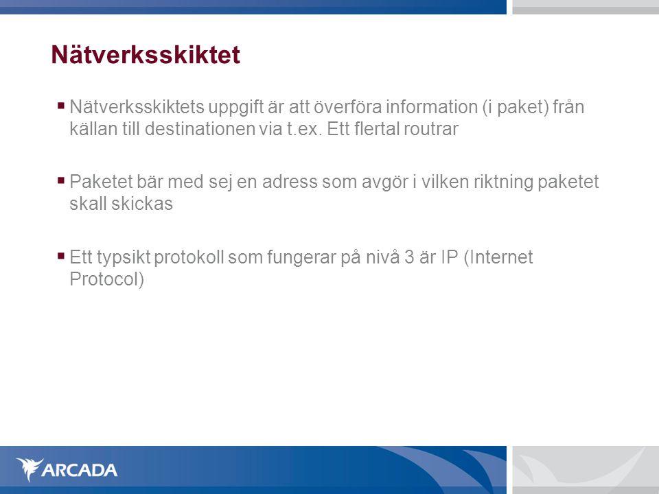 Nätverksskiktet  Nätverksskiktets uppgift är att överföra information (i paket) från källan till destinationen via t.ex. Ett flertal routrar  Pakete