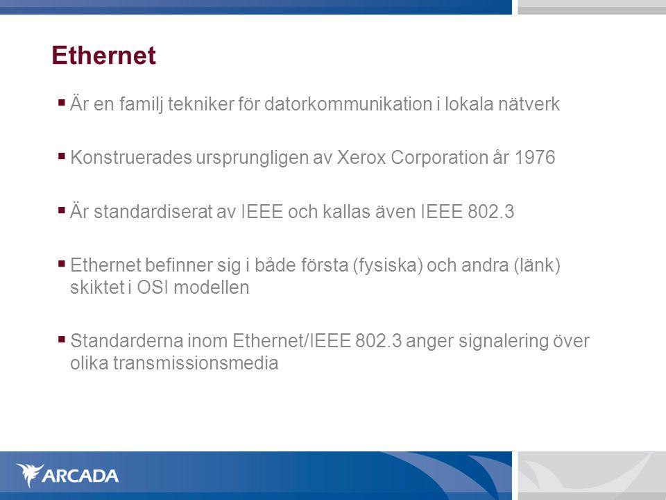 Ethernet  Ethernet använde till en början (under 80-talete) främst koaxialkabel som medium och hade en överföringshastighet på 10Mbit/s  Två olika typer av koaxialkabel användes  10Base5 ( tjock koax , 1cm i diam, avstånd på 1000m)  10Base2 ( tunn koax , 5mm i diam, avstånd på 185m)  Den vanligaste typen av kablar inom Ethernet idag är partvinnad kabel med RJ-45 kontakter.