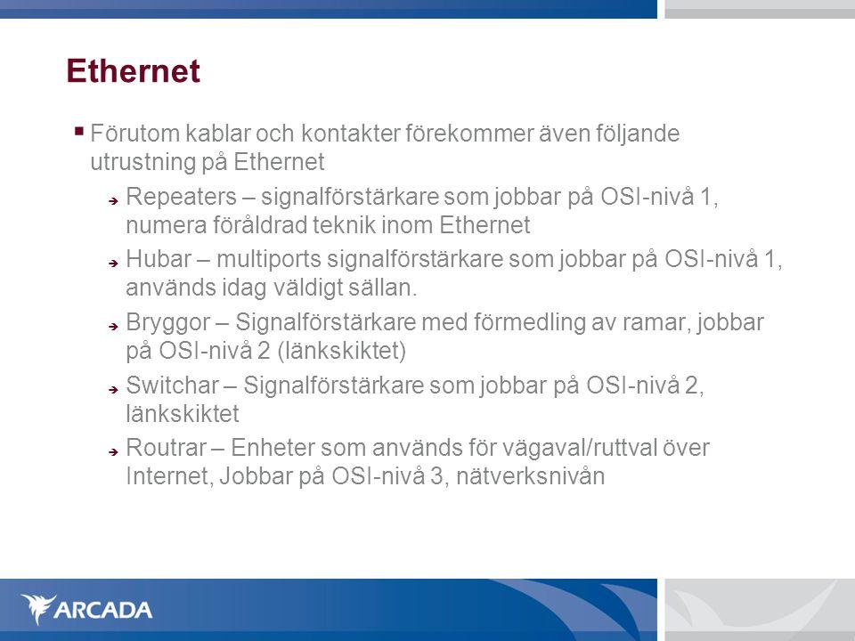 Ethernet  Förutom kablar och kontakter förekommer även följande utrustning på Ethernet  Repeaters – signalförstärkare som jobbar på OSI-nivå 1, nume