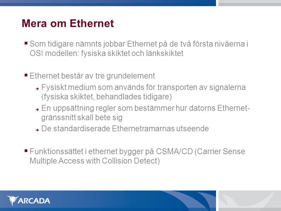 Mera om Ethernet  Som tidigare nämnts jobbar Ethernet på de två första nivåerna i OSI modellen: fysiska skiktet och länkskiktet  Ethernet består av