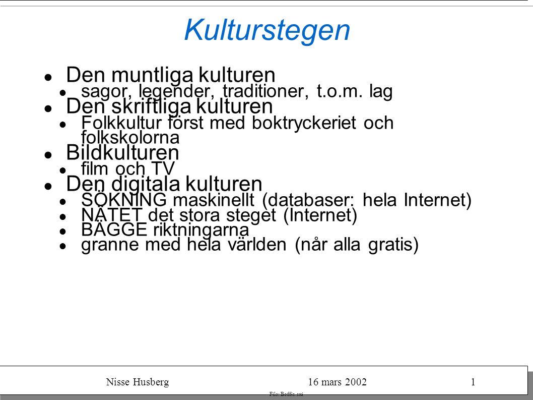 Nisse Husberg16 mars 20021 File: Boffis.sxi Från epost till digital TV ● epost ● IP-telefoni ● surfa på den världsvida väven ● den verkliga utmaningen: film och TV ● digital TV över marksändare ??.