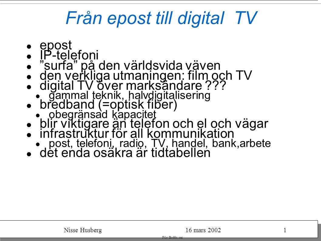 Nisse Husberg16 mars 20021 File: Boffis.sxi Från epost till digital TV ● epost ● IP-telefoni ● surfa på den världsvida väven ● den verkliga utmaningen: film och TV ● digital TV över marksändare .