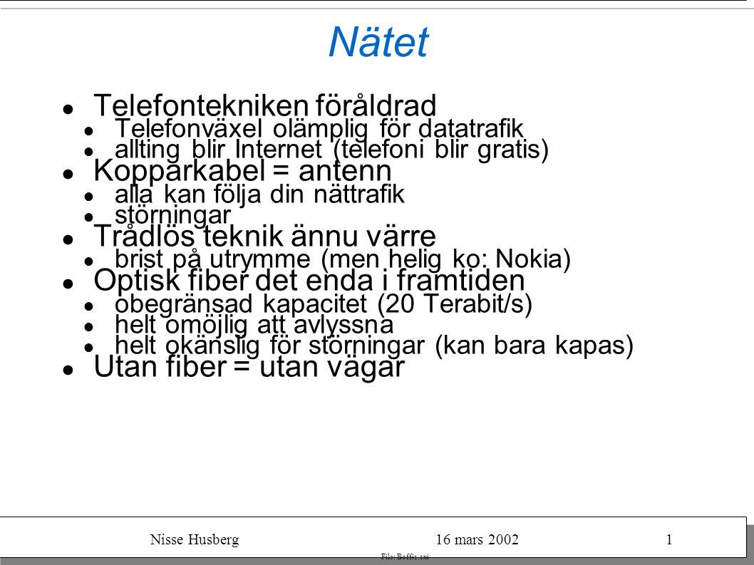Nisse Husberg16 mars 20021 File: Boffis.sxi Nätet ● Telefontekniken föråldrad ● Telefonväxel olämplig för datatrafik ● allting blir Internet (telefoni blir gratis) ● Kopparkabel = antenn ● alla kan följa din nättrafik ● störningar ● Trådlös teknik ännu värre ● brist på utrymme (men helig ko: Nokia) ● Optisk fiber det enda i framtiden ● obegränsad kapacitet (20 Terabit/s) ● helt omöjlig att avlyssna ● helt okänslig för störningar (kan bara kapas) ● Utan fiber = utan vägar