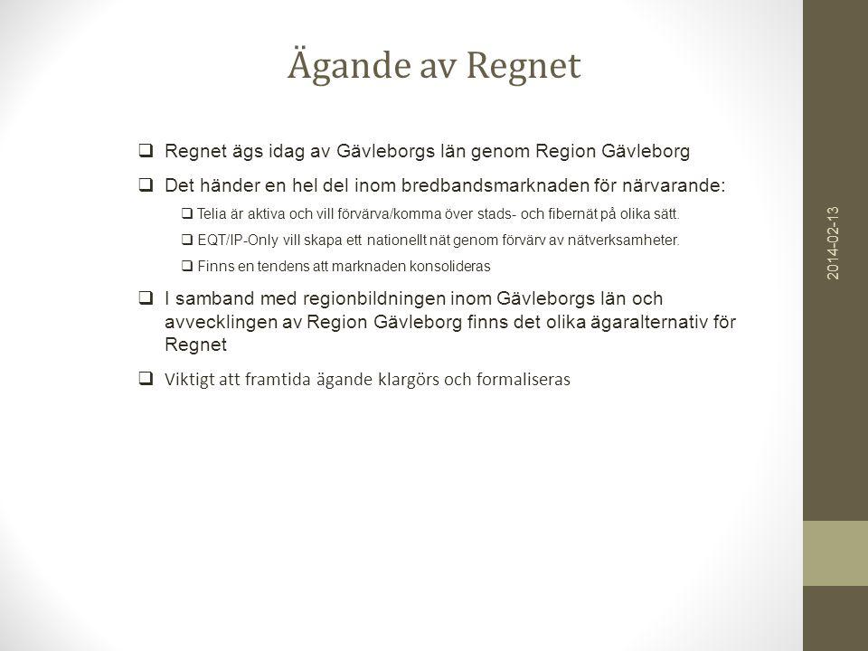Ägande av Regnet  Regnet ägs idag av Gävleborgs län genom Region Gävleborg  Det händer en hel del inom bredbandsmarknaden för närvarande:  Telia är aktiva och vill förvärva/komma över stads- och fibernät på olika sätt.