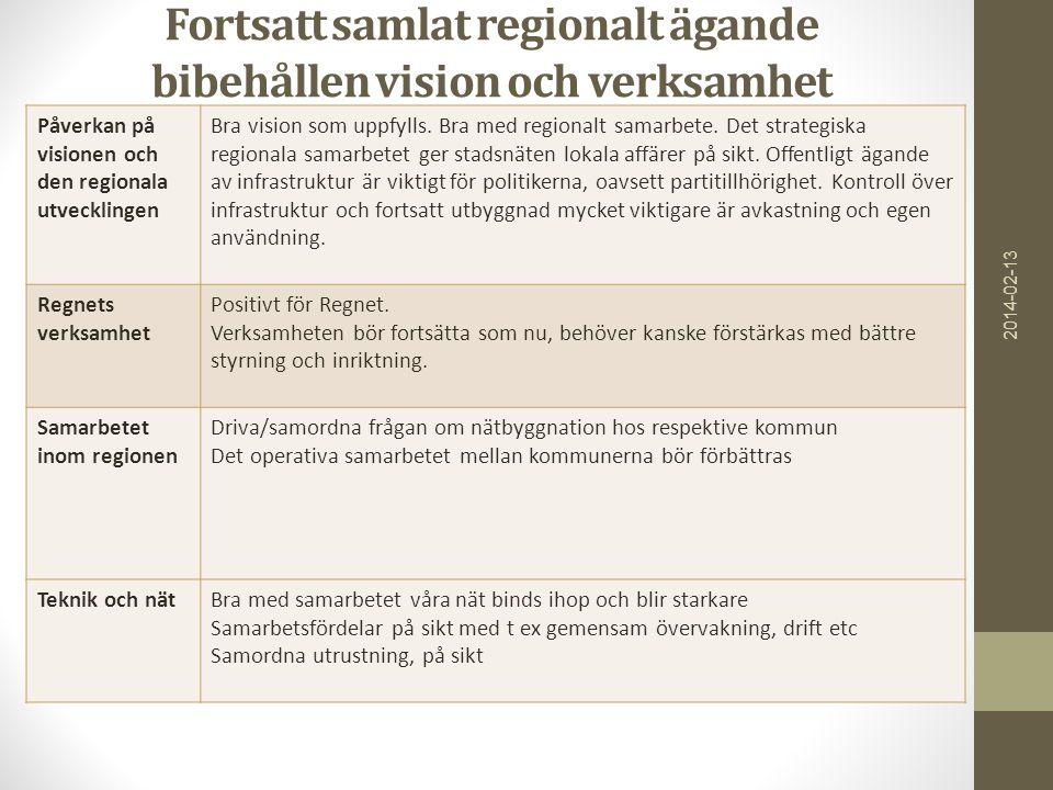 Fortsatt samlat regionalt ägande bibehållen vision och verksamhet 2014-02-13 Påverkan på visionen och den regionala utvecklingen Bra vision som uppfylls.