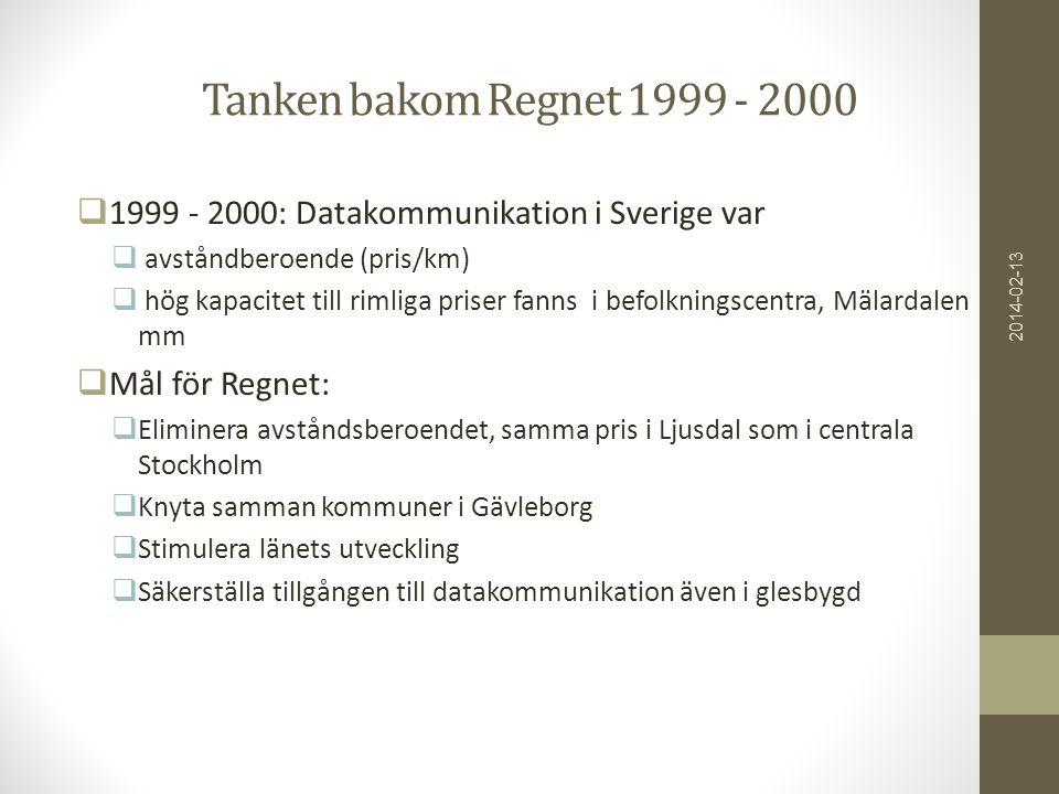 Tanken bakom Regnet 1999 - 2000  1999 - 2000: Datakommunikation i Sverige var  avståndberoende (pris/km)  hög kapacitet till rimliga priser fanns i befolkningscentra, Mälardalen mm  Mål för Regnet:  Eliminera avståndsberoendet, samma pris i Ljusdal som i centrala Stockholm  Knyta samman kommuner i Gävleborg  Stimulera länets utveckling  Säkerställa tillgången till datakommunikation även i glesbygd 2014-02-13
