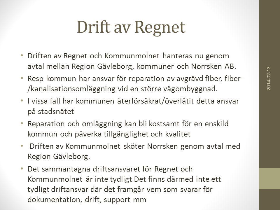 Drift av Regnet • Driften av Regnet och Kommunmolnet hanteras nu genom avtal mellan Region Gävleborg, kommuner och Norrsken AB. • Resp kommun har ansv