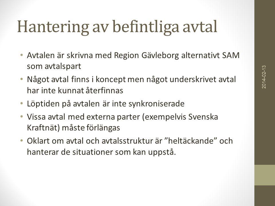 Hantering av befintliga avtal • Avtalen är skrivna med Region Gävleborg alternativt SAM som avtalspart • Något avtal finns i koncept men något underskrivet avtal har inte kunnat återfinnas • Löptiden på avtalen är inte synkroniserade • Vissa avtal med externa parter (exempelvis Svenska Kraftnät) måste förlängas • Oklart om avtal och avtalsstruktur är heltäckande och hanterar de situationer som kan uppstå.