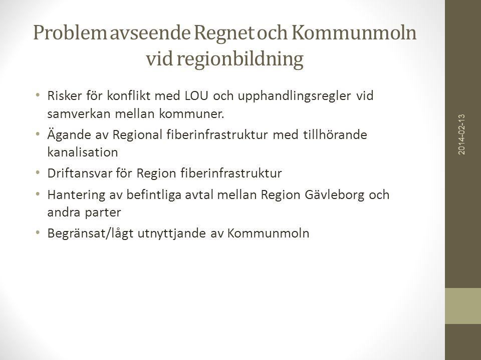 Problem avseende Regnet och Kommunmoln vid regionbildning • Risker för konflikt med LOU och upphandlingsregler vid samverkan mellan kommuner. • Ägande