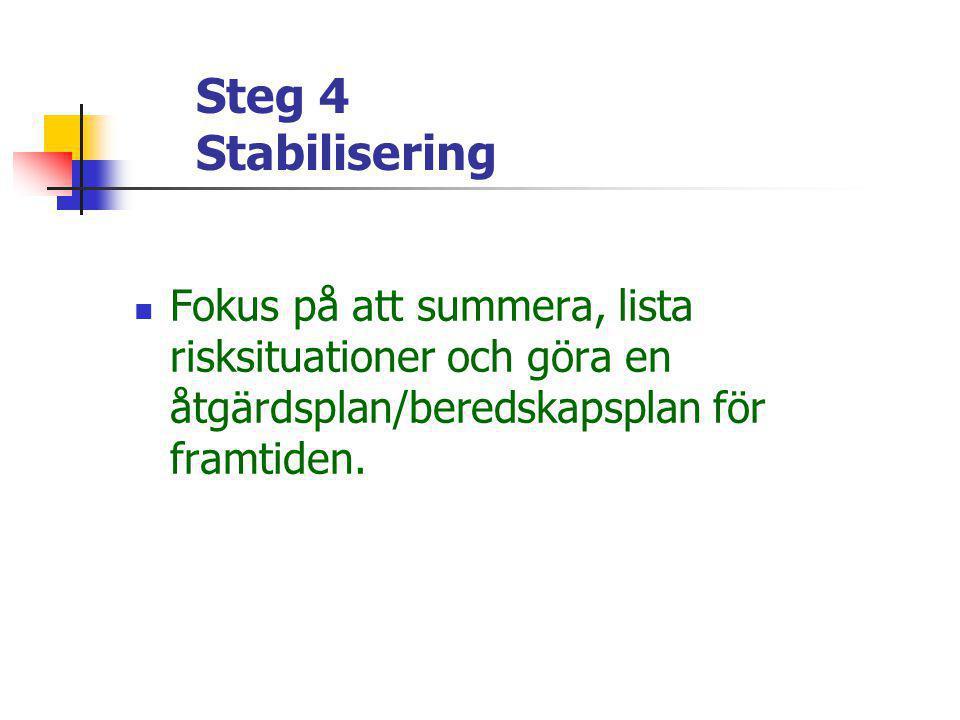 Steg 4 Stabilisering  Fokus på att summera, lista risksituationer och göra en åtgärdsplan/beredskapsplan för framtiden.