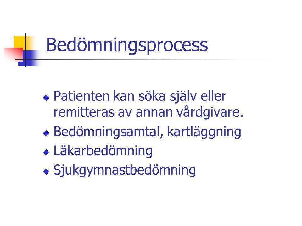 Bedömningsprocess u Patienten kan söka själv eller remitteras av annan vårdgivare. u Bedömningsamtal, kartläggning u Läkarbedömning u Sjukgymnastbedöm