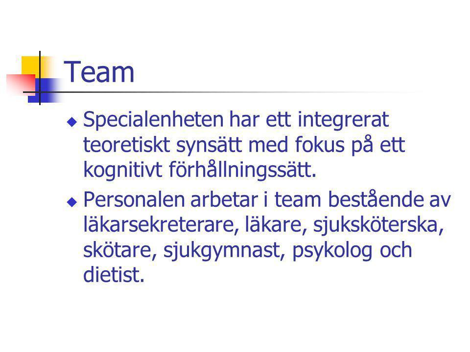 Team u Specialenheten har ett integrerat teoretiskt synsätt med fokus på ett kognitivt förhållningssätt. u Personalen arbetar i team bestående av läka