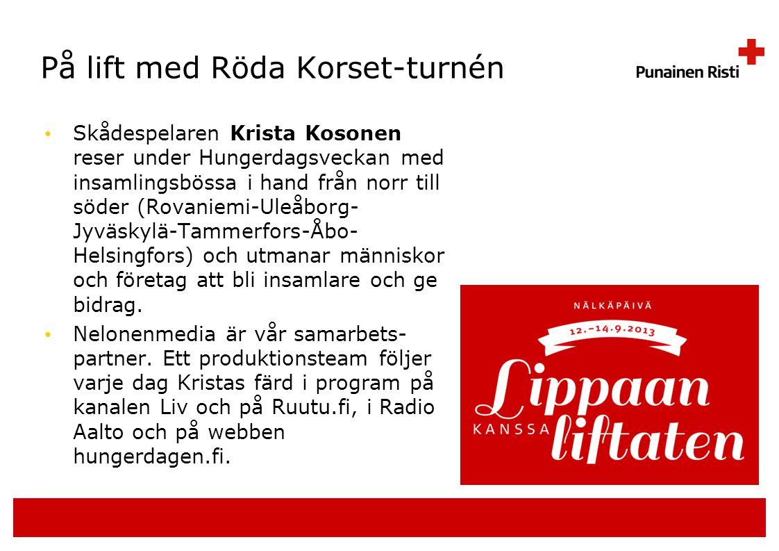 På lift med Röda Korset-turnén • Skådespelaren Krista Kosonen reser under Hungerdagsveckan med insamlingsbössa i hand från norr till söder (Rovaniemi-Uleåborg- Jyväskylä-Tammerfors-Åbo- Helsingfors) och utmanar människor och företag att bli insamlare och ge bidrag.