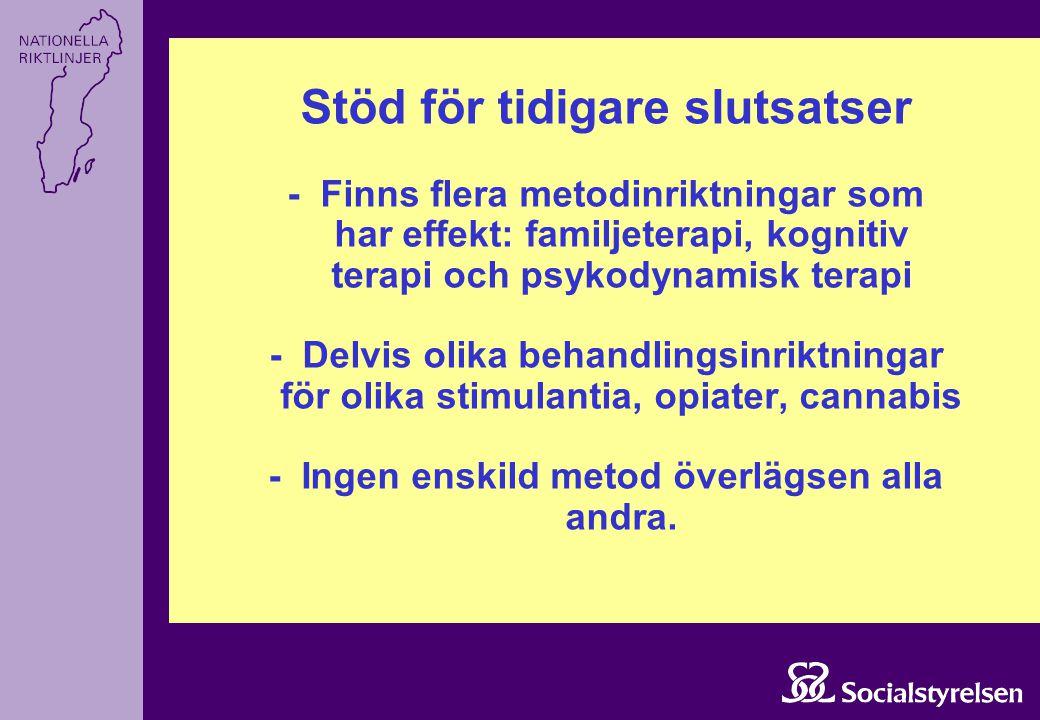 Stöd för tidigare slutsatser - Finns flera metodinriktningar som har effekt: familjeterapi, kognitiv terapi och psykodynamisk terapi - Delvis olika be