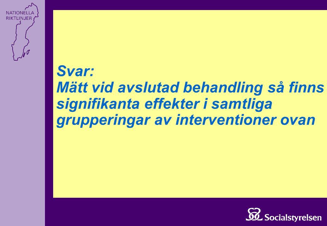 Svar: Mätt vid avslutad behandling så finns signifikanta effekter i samtliga grupperingar av interventioner ovan