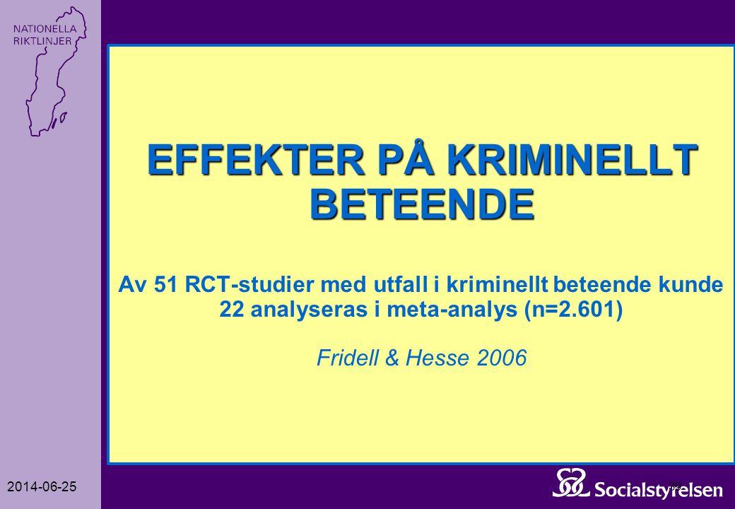 2014-06-25 39 EFFEKTER PÅ KRIMINELLT BETEENDE EFFEKTER PÅ KRIMINELLT BETEENDE Av 51 RCT-studier med utfall i kriminellt beteende kunde 22 analyseras i
