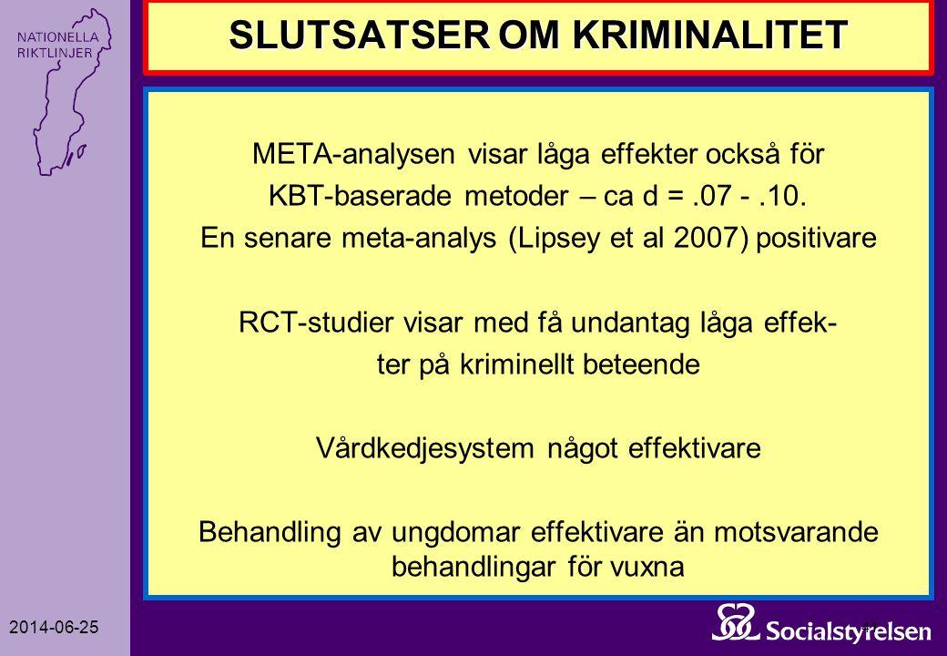 2014-06-25 41 SLUTSATSER OM KRIMINALITET META-analysen visar låga effekter också för KBT-baserade metoder – ca d =.07 -.10. En senare meta-analys (Lip