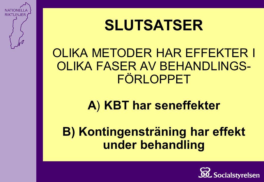 SLUTSATSER OLIKA METODER HAR EFFEKTER I OLIKA FASER AV BEHANDLINGS- FÖRLOPPET A) KBT har seneffekter B) Kontingensträning har effekt under behandling