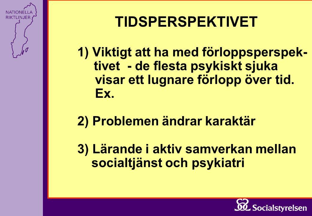 TIDSPERSPEKTIVET 1) Viktigt att ha med förloppsperspek- tivet - de flesta psykiskt sjuka visar ett lugnare förlopp över tid. Ex. 2) Problemen ändrar k