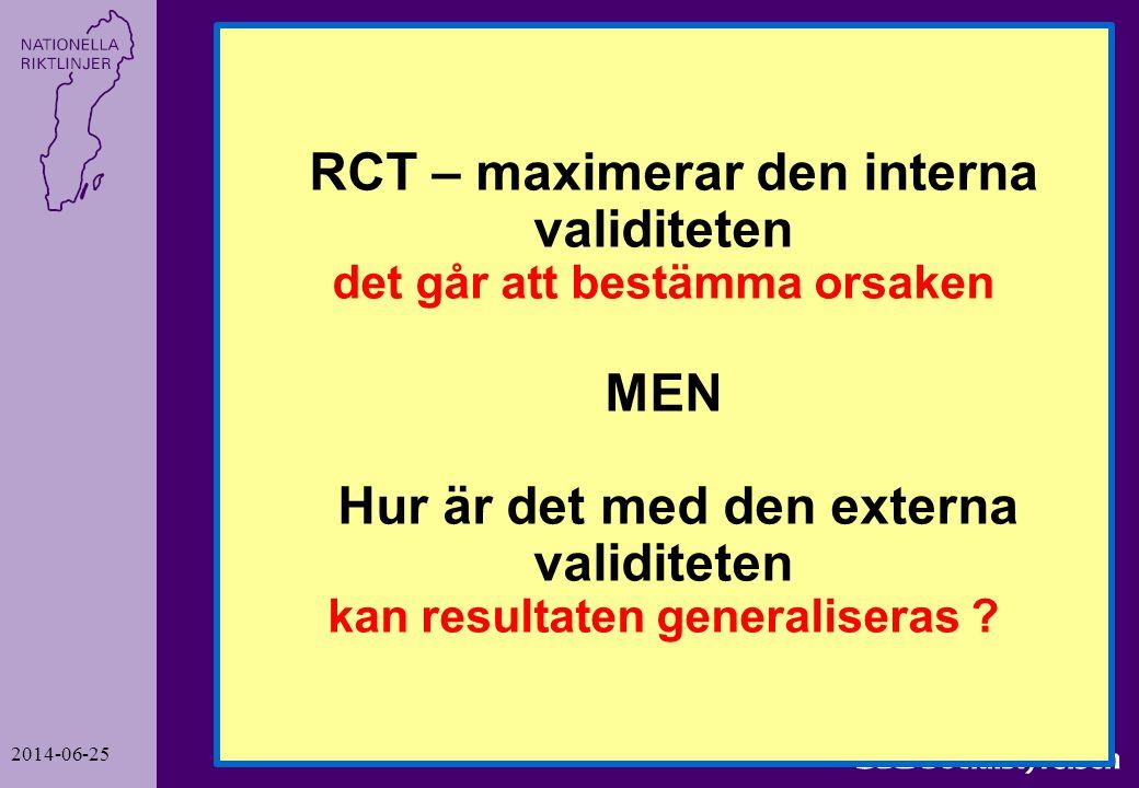 2014-06-25 6 RCT – maximerar den interna validiteten det går att bestämma orsaken MEN Hur är det med den externa validiteten kan resultaten generalise