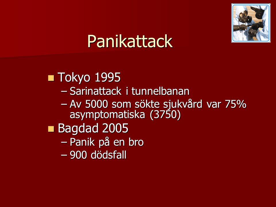 Panikattack  Tokyo 1995 –Sarinattack i tunnelbanan –Av 5000 som sökte sjukvård var 75% asymptomatiska (3750)  Bagdad 2005 –Panik på en bro –900 dödsfall