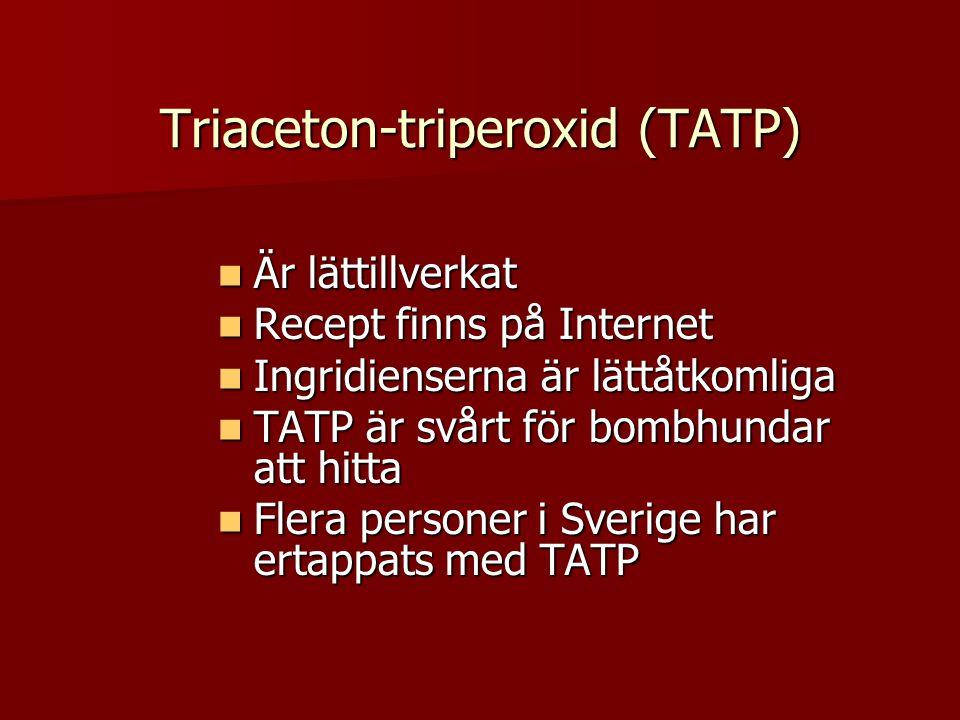 Triaceton-triperoxid (TATP)  Är lättillverkat  Recept finns på Internet  Ingridienserna är lättåtkomliga  TATP är svårt för bombhundar att hitta  Flera personer i Sverige har ertappats med TATP