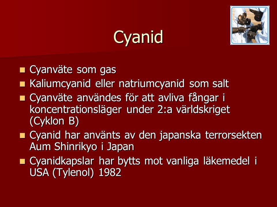 Cyanid  Cyanväte som gas  Kaliumcyanid eller natriumcyanid som salt  Cyanväte användes för att avliva fångar i koncentrationsläger under 2:a världskriget (Cyklon B)  Cyanid har använts av den japanska terrorsekten Aum Shinrikyo i Japan  Cyanidkapslar har bytts mot vanliga läkemedel i USA (Tylenol) 1982