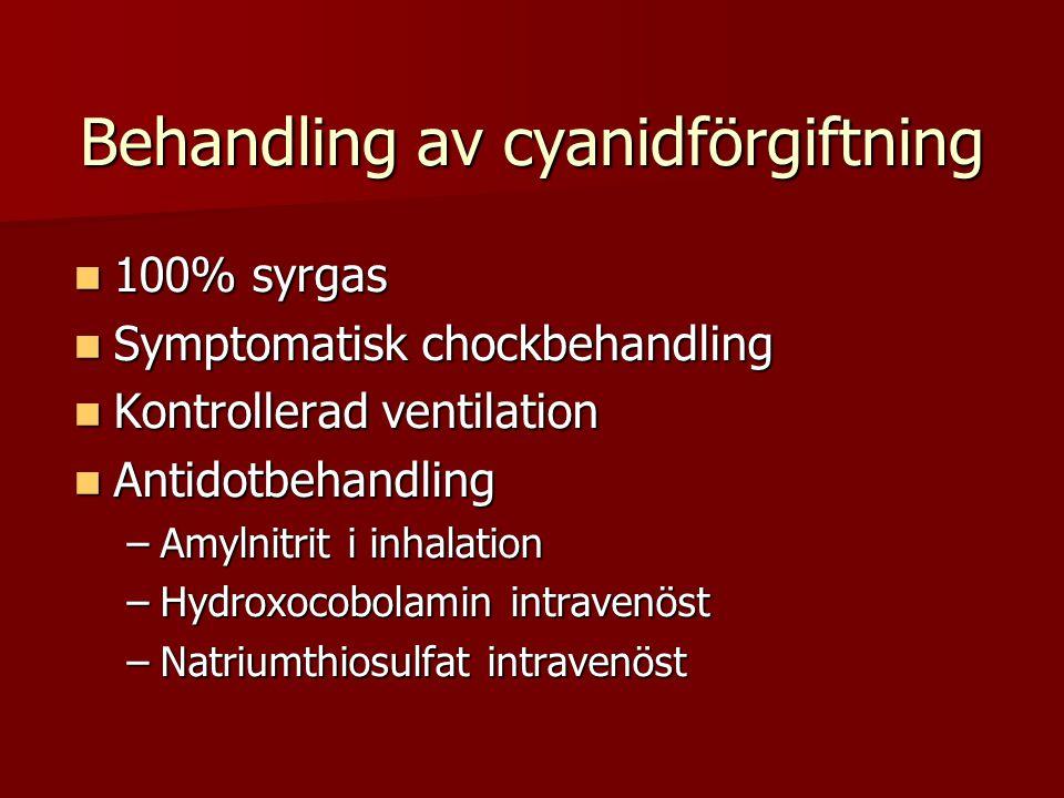 Behandling av cyanidförgiftning  100% syrgas  Symptomatisk chockbehandling  Kontrollerad ventilation  Antidotbehandling –Amylnitrit i inhalation –Hydroxocobolamin intravenöst –Natriumthiosulfat intravenöst