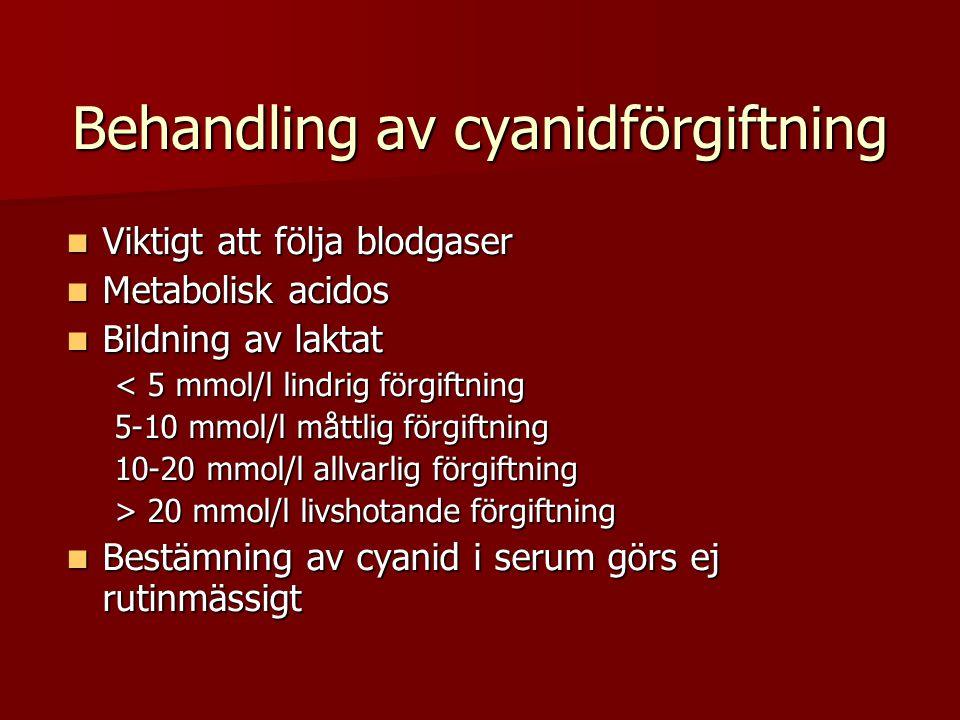Behandling av cyanidförgiftning  Viktigt att följa blodgaser  Metabolisk acidos  Bildning av laktat < 5 mmol/l lindrig förgiftning 5-10 mmol/l måttlig förgiftning 10-20 mmol/l allvarlig förgiftning > 20 mmol/l livshotande förgiftning  Bestämning av cyanid i serum görs ej rutinmässigt