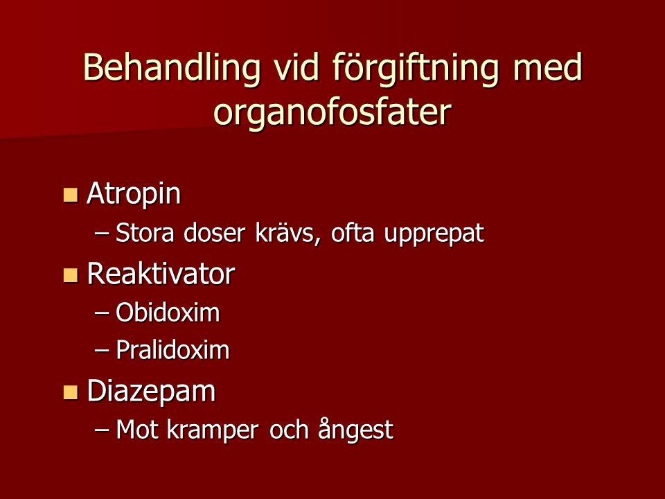 Behandling vid förgiftning med organofosfater  Atropin –Stora doser krävs, ofta upprepat  Reaktivator –Obidoxim –Pralidoxim  Diazepam –Mot kramper och ångest