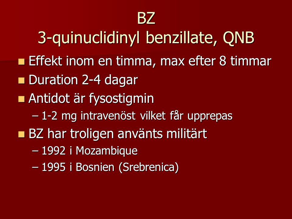 BZ 3-quinuclidinyl benzillate, QNB  Effekt inom en timma, max efter 8 timmar  Duration 2-4 dagar  Antidot är fysostigmin –1-2 mg intravenöst vilket får upprepas  BZ har troligen använts militärt –1992 i Mozambique –1995 i Bosnien (Srebrenica)