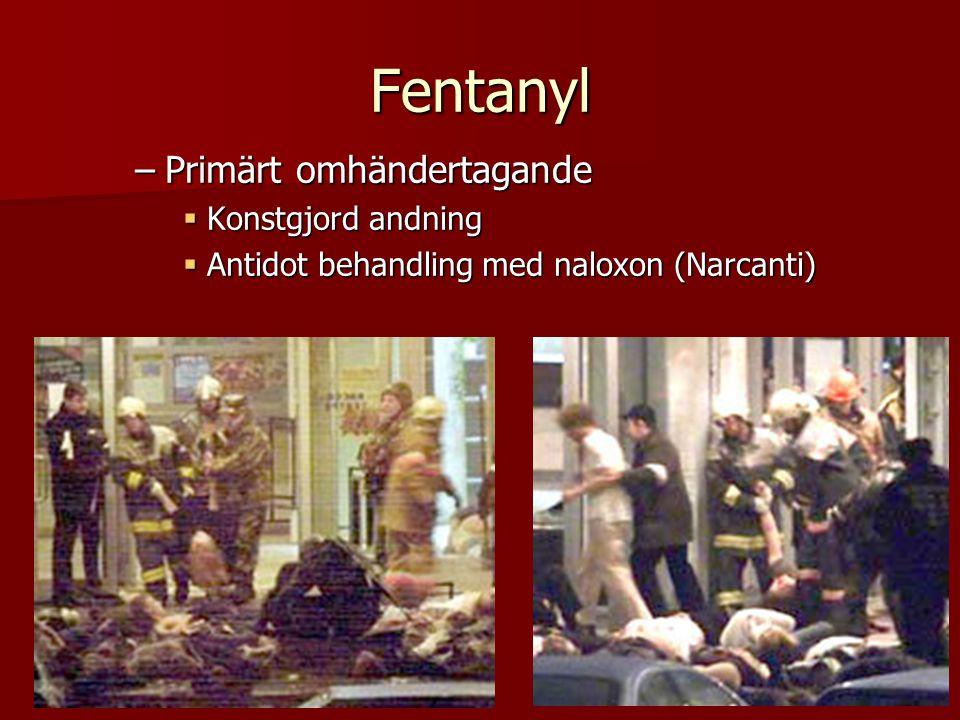 Fentanyl –Primärt omhändertagande  Konstgjord andning  Antidot behandling med naloxon (Narcanti)