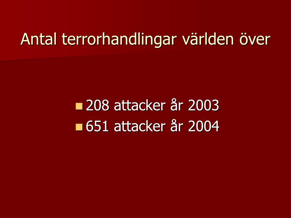 Antal terrorhandlingar världen över  208 attacker år 2003  651 attacker år 2004