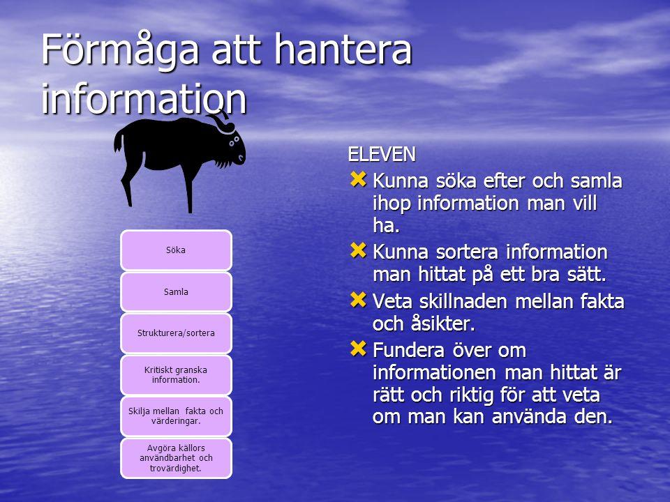 Förmåga att hantera information SökaSamlaStrukturera/sortera Kritiskt granska information.