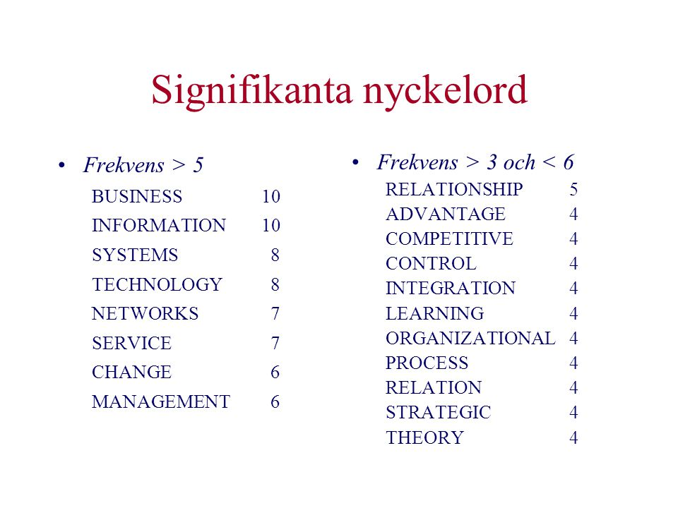Signifikanta nyckelord •Frekvens > 5 BUSINESS10 INFORMATION10 SYSTEMS 8 TECHNOLOGY 8 NETWORKS 7 SERVICE 7 CHANGE 6 MANAGEMENT 6 •Frekvens > 3 och < 6