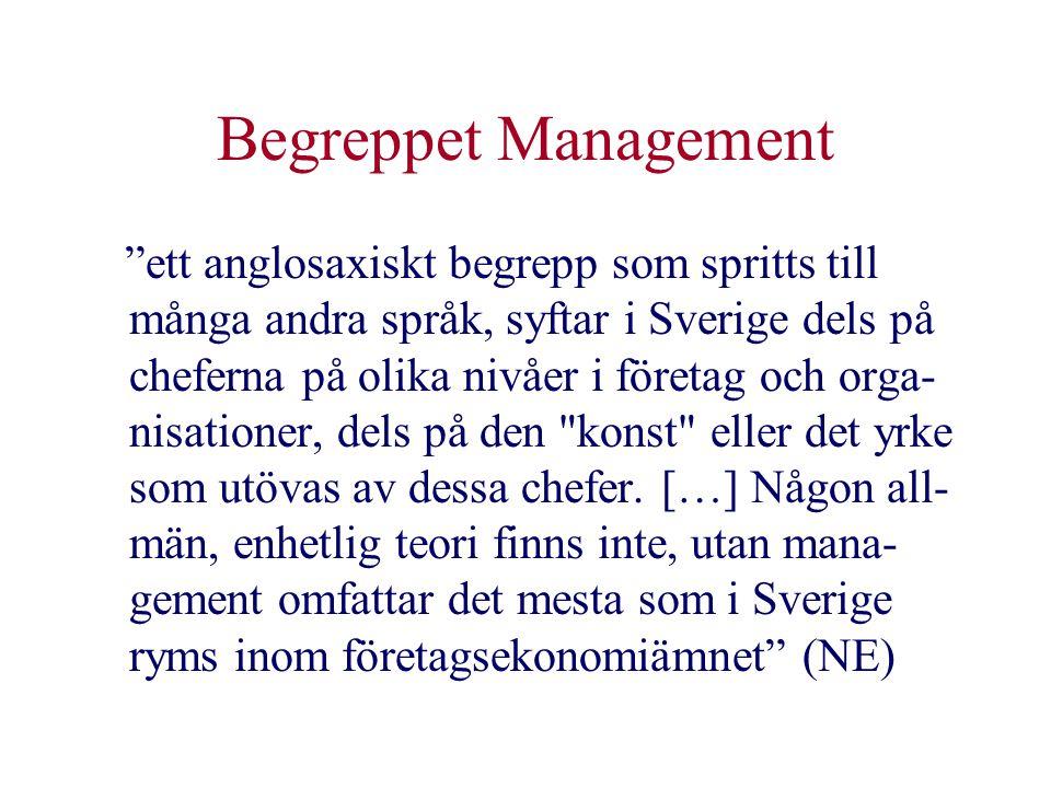 """Begreppet Management """"ett anglosaxiskt begrepp som spritts till många andra språk, syftar i Sverige dels på cheferna på olika nivåer i företag och org"""
