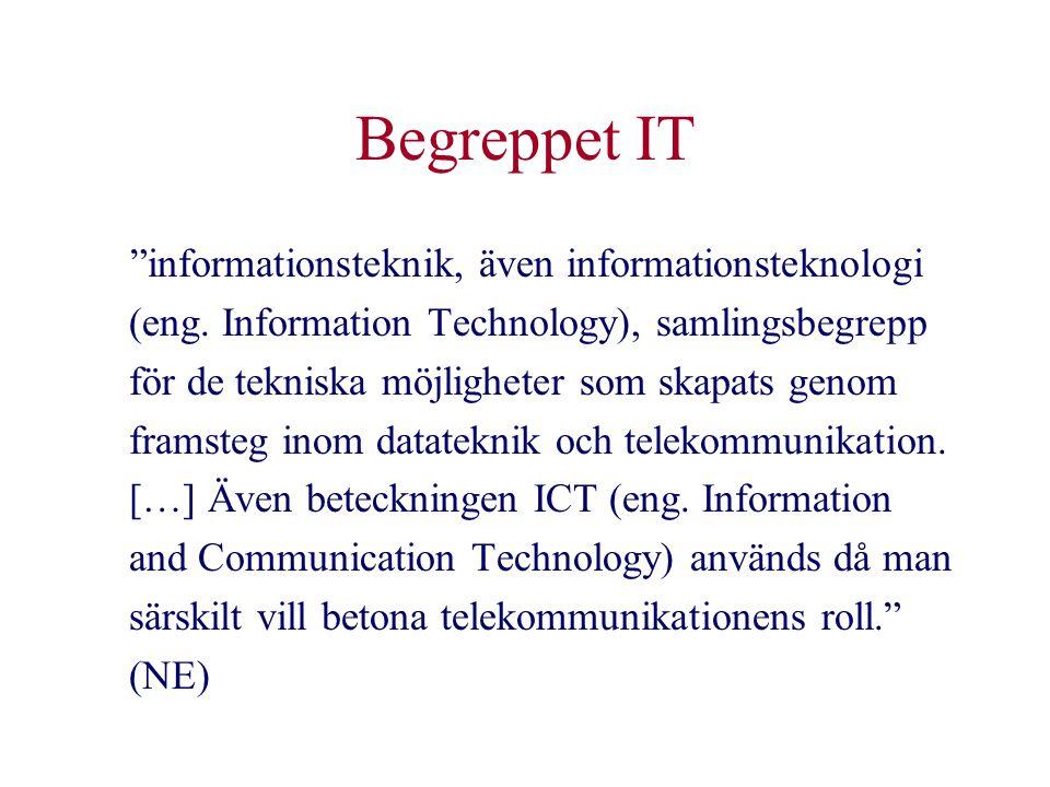 """Begreppet IT """"informationsteknik, även informationsteknologi (eng. Information Technology), samlingsbegrepp för de tekniska möjligheter som skapats ge"""