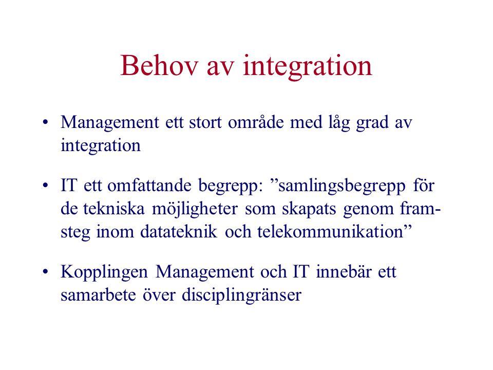 """Behov av integration •Management ett stort område med låg grad av integration •IT ett omfattande begrepp: """"samlingsbegrepp för de tekniska möjligheter"""