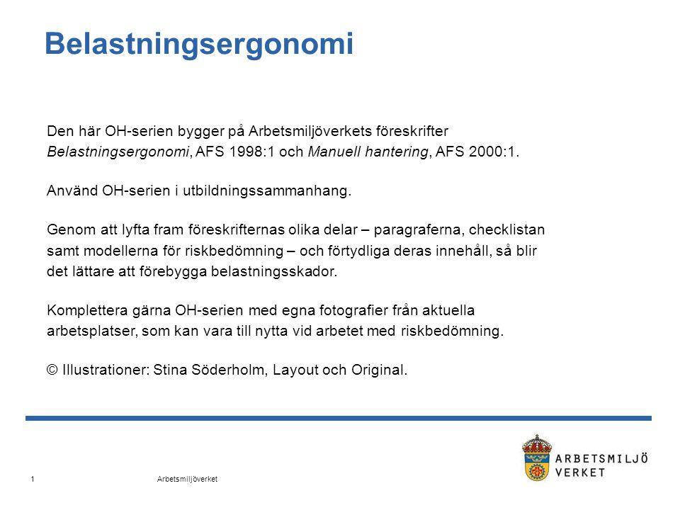 Arbetsmiljöverket 2 Belastningsergonomi AFS 1998:1