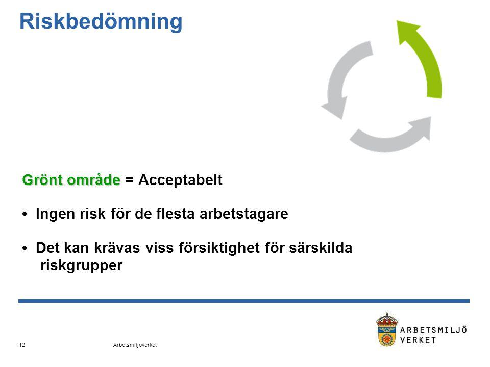 Arbetsmiljöverket 12 Riskbedömning Grönt område Grönt område = Acceptabelt • Ingen risk för de flesta arbetstagare • Det kan krävas viss försiktighet