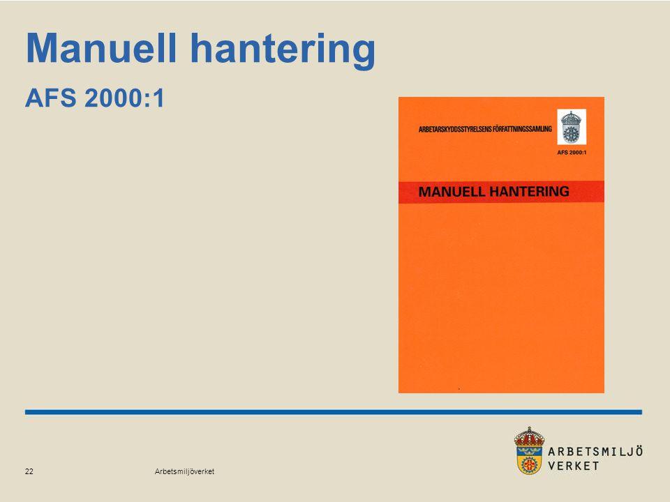 Arbetsmiljöverket 22 Manuell hantering AFS 2000:1