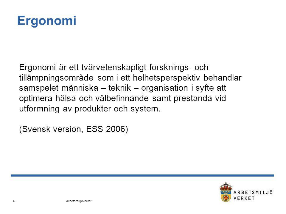 Arbetsmiljöverket 4 Ergonomi Ergonomi är ett tvärvetenskapligt forsknings- och tillämpningsområde som i ett helhetsperspektiv behandlar samspelet männ