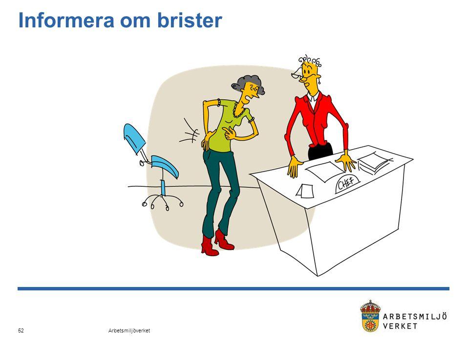 Arbetsmiljöverket 52 Informera om brister
