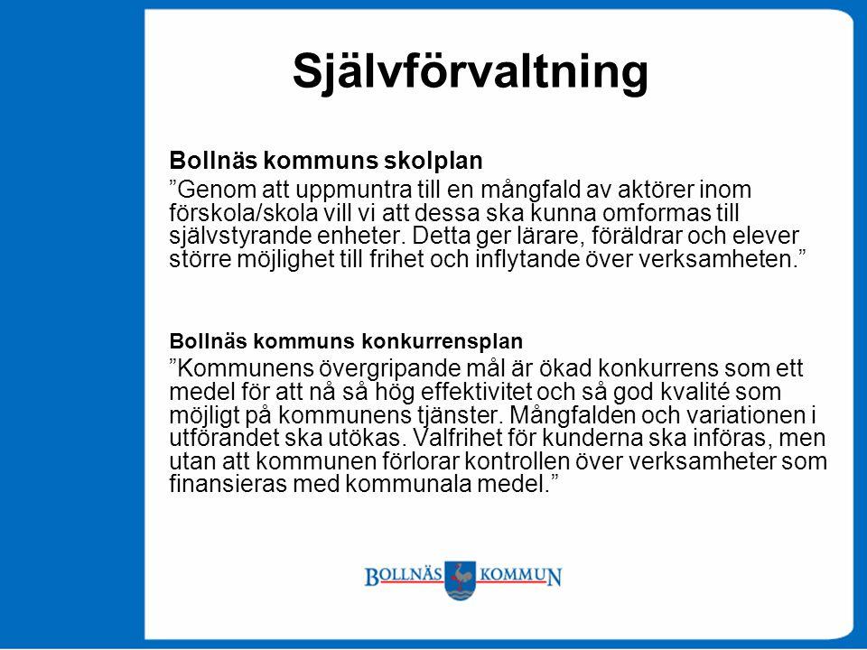 Självförvaltning Bollnäs kommuns skolplan Genom att uppmuntra till en mångfald av aktörer inom förskola/skola vill vi att dessa ska kunna omformas till självstyrande enheter.