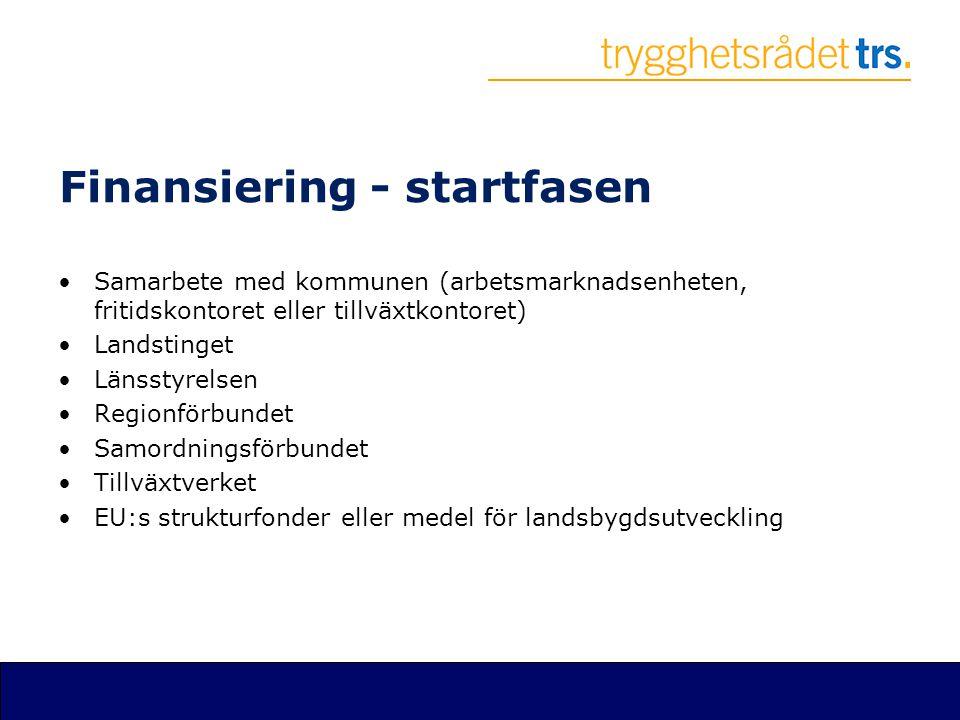 Finansiering - startfasen •Samarbete med kommunen (arbetsmarknadsenheten, fritidskontoret eller tillväxtkontoret) •Landstinget •Länsstyrelsen •Regionf