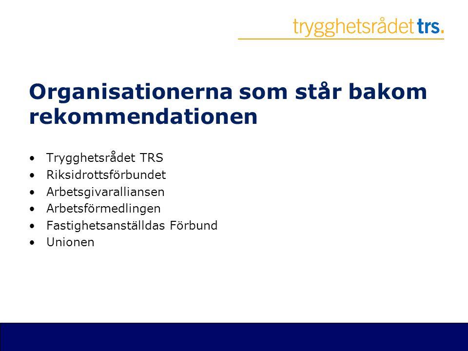 Organisationerna som står bakom rekommendationen •Trygghetsrådet TRS •Riksidrottsförbundet •Arbetsgivaralliansen •Arbetsförmedlingen •Fastighetsanstäl