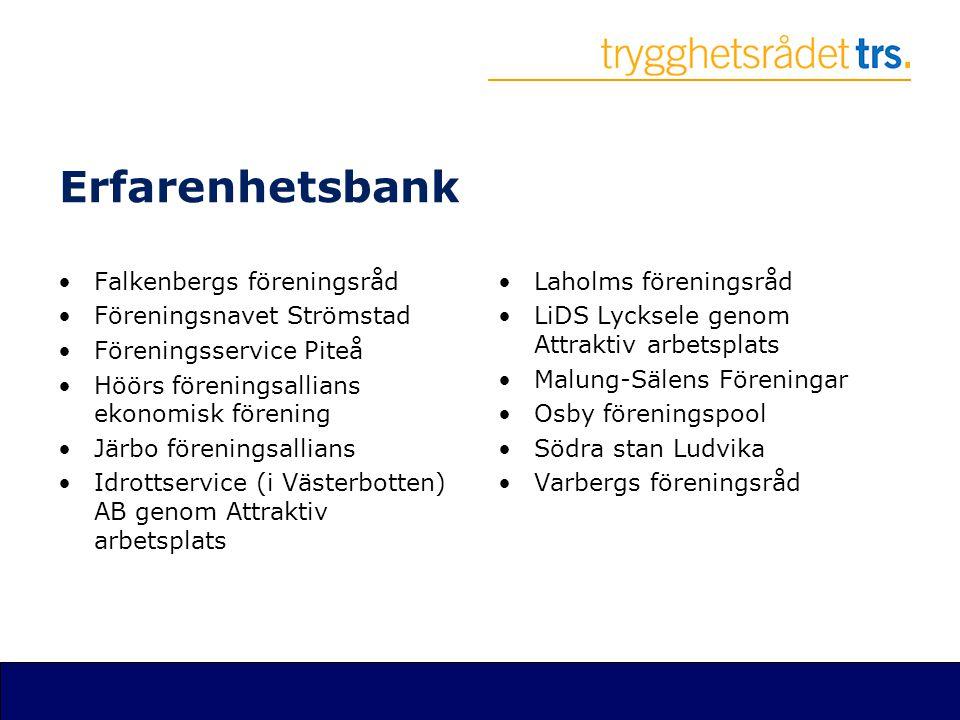 Erfarenhetsbank •Falkenbergs föreningsråd •Föreningsnavet Strömstad •Föreningsservice Piteå •Höörs föreningsallians ekonomisk förening •Järbo förening