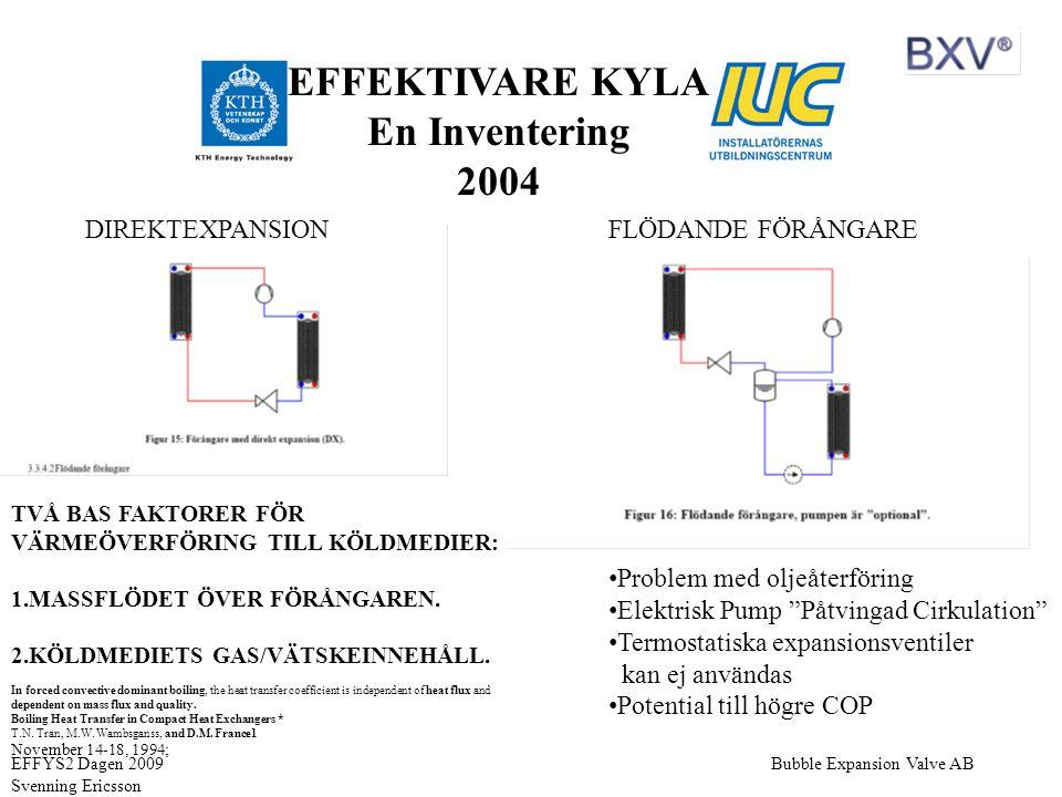 """Bubble Expansion Valve ABEFFYS2 Dagen 2009 Svenning Ericsson DIREKTEXPANSIONFLÖDANDE FÖRÅNGARE • Problem med oljeåterföring • Elektrisk Pump """"Påtvinga"""
